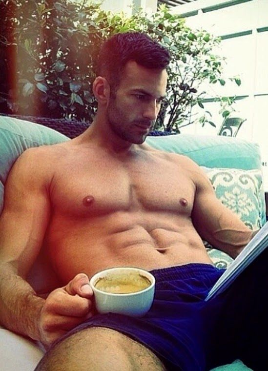 Gay men morning coffee