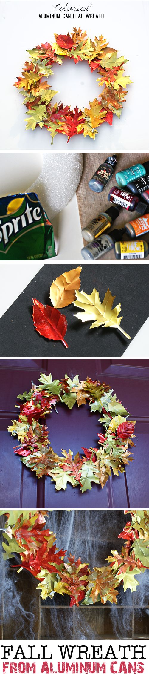 Aluminum Can Leaf Wreath Tutorial at savedbylovecreations.com #fall #wreath #upcycle #repurpose #recycledCrafts #sizzix #TimHoltz