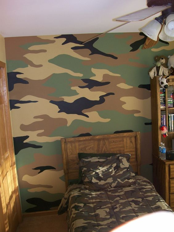 Galleries camouflage and wall murals on pinterest for Camouflage wall mural