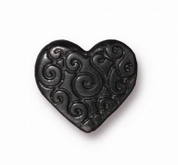 4 Black Scroll Heart Beads Tierra Cast TC-5672-13 by RoyalMetals for $4.16