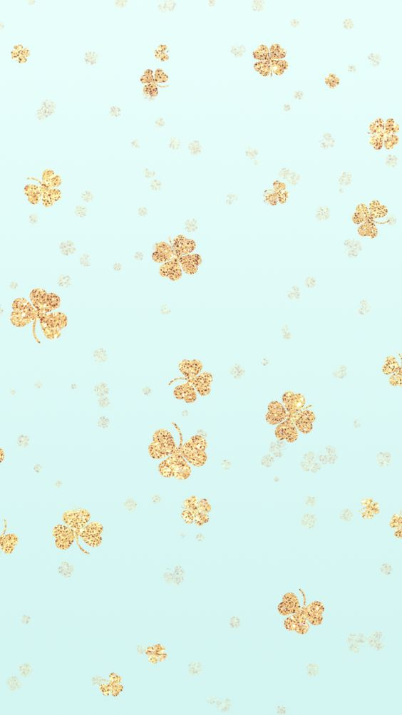 Lucky Gold Glitter Shamrock iPhone Wallpaper Background