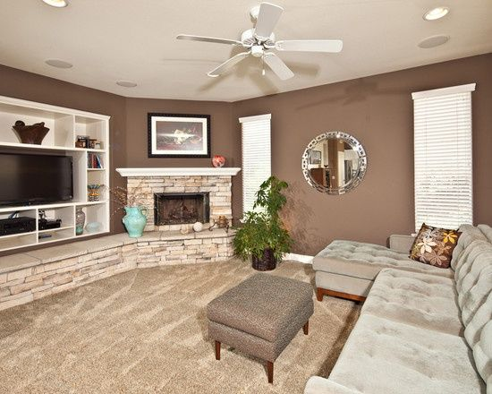 Living Room With Corner Fireplace And Tv corner fireplaces & tv for basements | corner fireplace and built