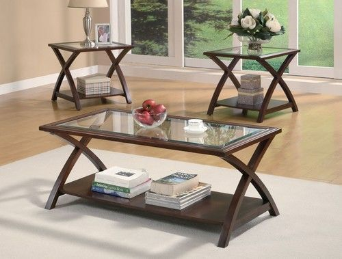 3 Pc Double X Coffee Table End Table Set 701527 Centre Table