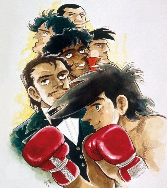 ボクシンググローブをはめて構えている矢吹丈と登場人物たちのあしたのジョーの壁紙
