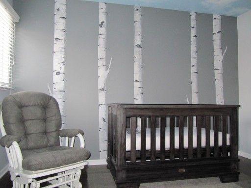 Hand painted Birch trees in Nursery by Leslie Michaels. Darien IL 2014 Kids Room Murals by Leslie Michaels