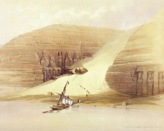 The Ramesses temple of Abu Simbel David Roberts, The Holy Land, Egypt, & Nubia (Color lithographs), published 1855.