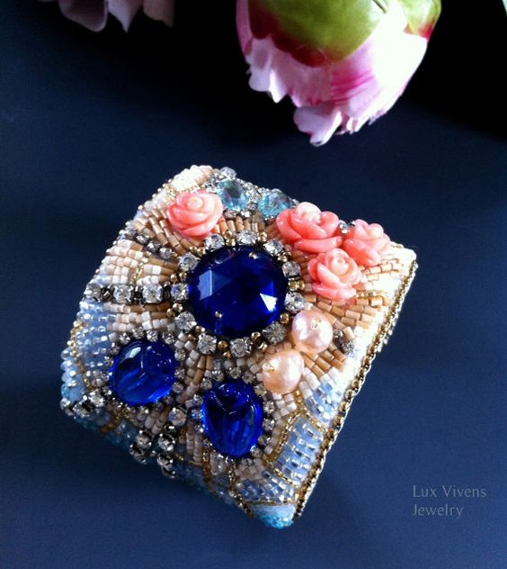 Luxurious Decadent Bead Embroidered Cuff with Blue Scarabs, Cobalt Blue Glass, Carved Coral Roses, Rhinestones, Pastel Color Beaded Bracelet