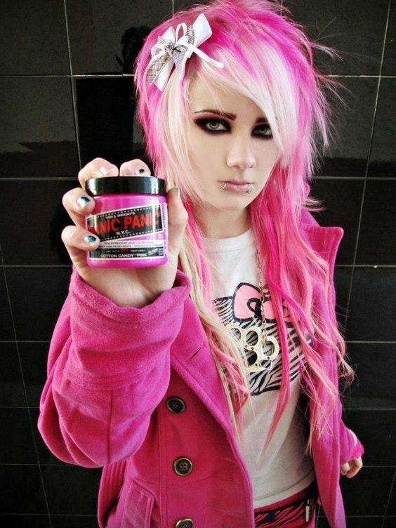 manicpanic cotton candy pink scene emo scenehair
