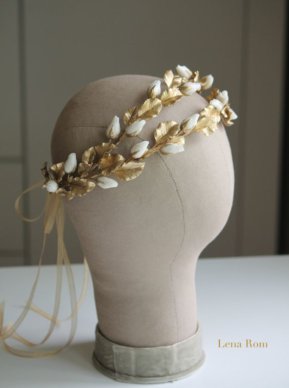 Roses buds headpiece. Gold bridal headpiece. Bridal wreath. Wedding headpiece…