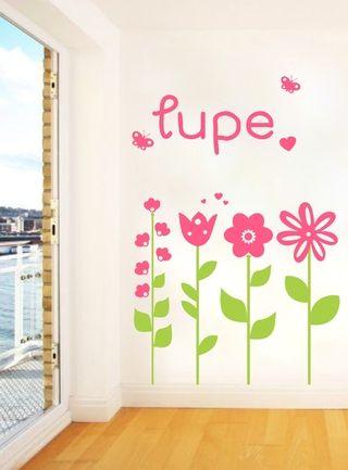Vinilos decorativos flores nena dormitorio rosa for Frases para cuartos de ninas