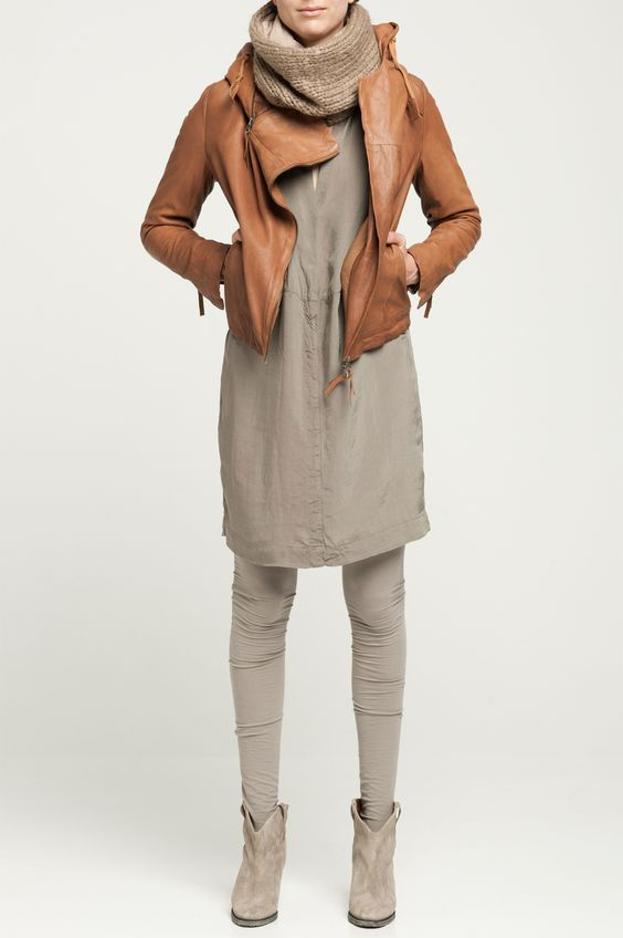 Little jacket over gray dress and gray laggings