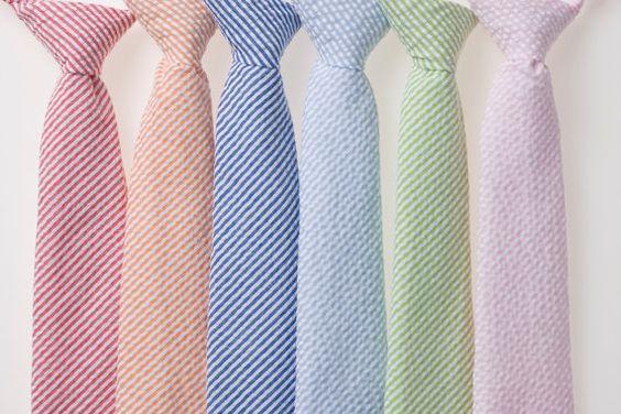 The seersucker might look best with the girls dresses. Boys Tie  Striped Seersucker  Red Orange Navy by littlegentleman, $18.00