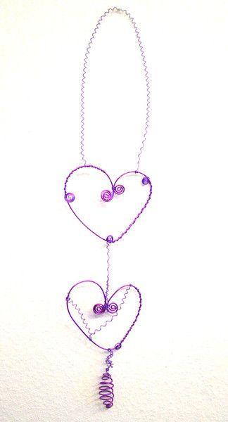 Herz Dekoration aus Draht, lila  von Modeschmuckstübchen Andrea auf DaWanda.com
