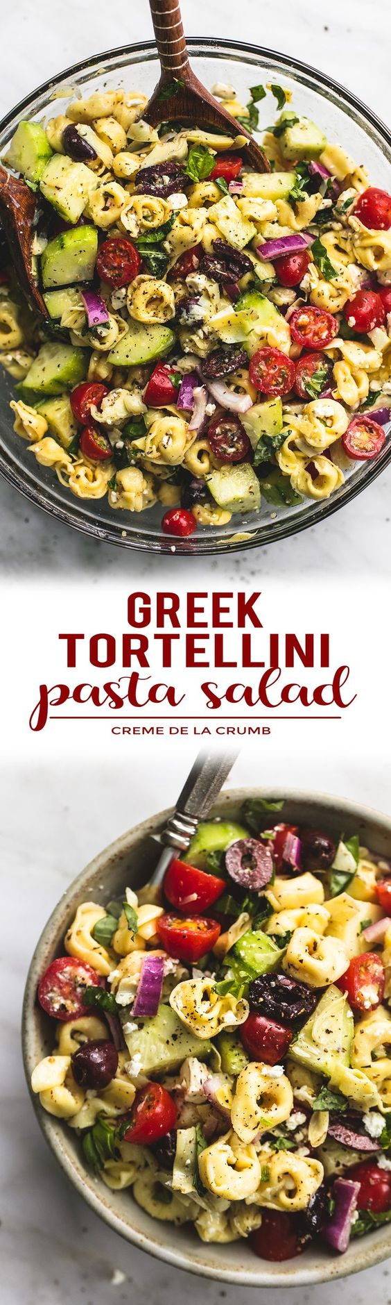 Quick and easy Greek Tortellini Pasta Salad with zesty Greek lemon dressing, fresh veggies, and hearty tortellini pasta will be your go-to potluck and dinner side dish!   lecremedelacrumb.com: