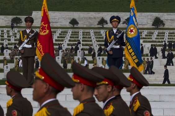 North Koreans tour a cemetery for Korean War veterans on Thursday, July 25, 2013 in Pyongyang, North Korea during an opening ceremony marking the 60th anniversary of the signing of the armistice that ended hostilities on the Korean peninsula. (AP Photo/David Guttenfelder)