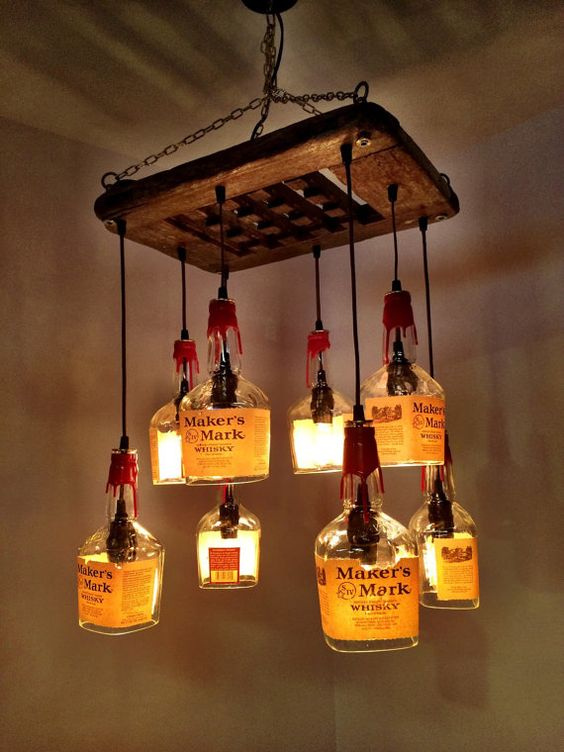 Makers Mark Whiskey & Driftwood 8 bottle Chandelier by PMGlassArt