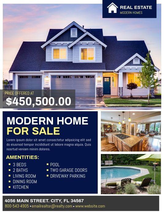 Real Estate Flyer Modern Homes For Sale Real Estate Real Estate Flyers