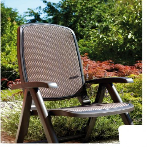 Outdoor Reclining Chair Brown Fabric Colour Plastic Resin Garden Patio Furniture Patio Furniture For Sale Garden Patio Furniture Patio Garden