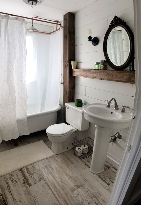 Farmhouse Style Bathroom Shiplap Bathroom Farmstyle Redo