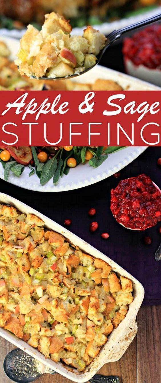 Apple & Sage Stuffing for Thanksgiving or Christmas dinner. The ...