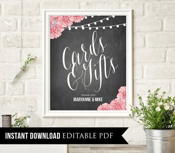 Editable Wedding Sign Cards and Gifts INSTANT by MintyPaperieShop