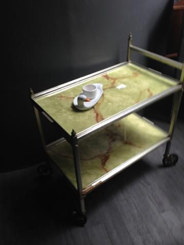 It's 4o'clock it's a tea-time special with our two trolleys - here at #FurnishN20 pass the scones Marge.