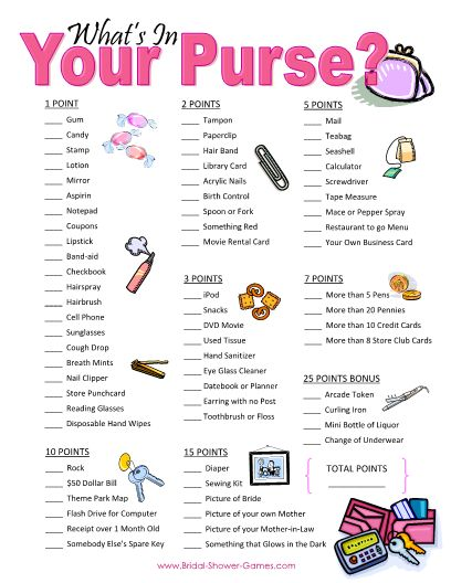 """Printable """"What's In Your Purse"""" Game – Extended http://www.bridal-shower-games.com/printable-bridal-shower-games"""