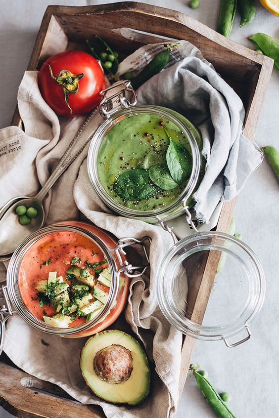 2 raw soup recipes that taste like a savory smoothie: avocado gazpacho and hydrating coconut pea soup. Easy to make with tons of nutrients to energize you!