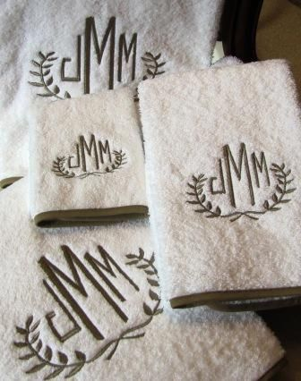Monogrammed Egyptian Cotton towels with custom color binding.