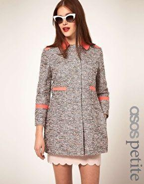 ASOS PETITE Textured Coat With Contrast Collar