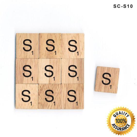 10 S Wooden Letter Scrabble Tiles Black Letters