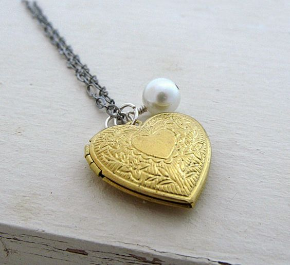 Gold Heart Locket Necklace Victorian Locket by laurenblythedesigns