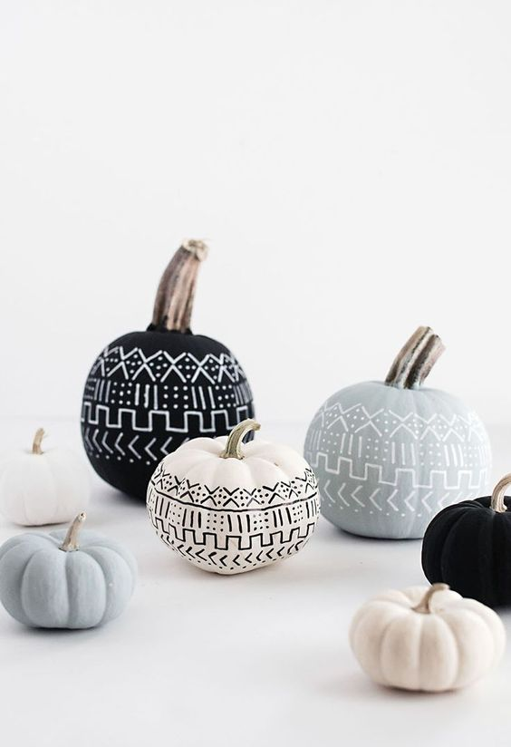 Mud Cloth Pumpkins DIY - so cute