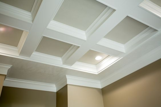 Interior Products | coiffered ceiling, trimmed with crown moulding | Bayer Built Woodworks, Inc.