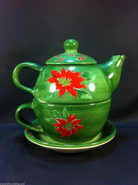 Barnes & Noble Tea for One Four Piece Nesting Teapot Christmas Poinsettias.