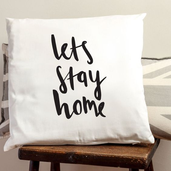 Lets stay home Cushion Cover - Illustrated Cotton Cushion Cover - Home Decor on Etsy, $26.11