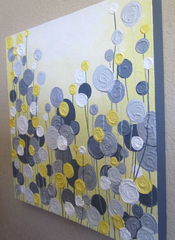 yellow gray and white textured flower art 24x30 ready