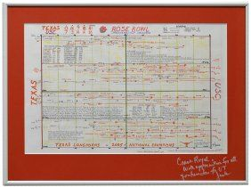 2006 ROSE BOWL GAME CHART SIGNED TO COACH ROYAL