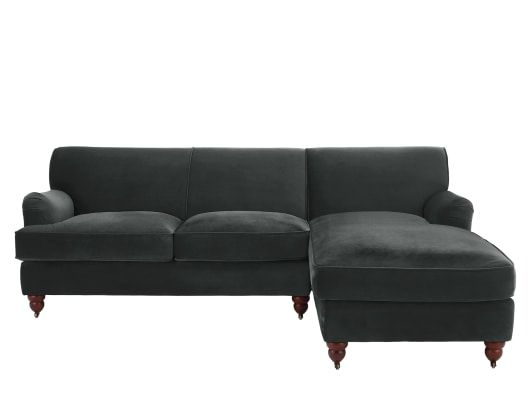 Orson Right Hand Facing Chaise End Corner Sofa Midnight Grey Velvet