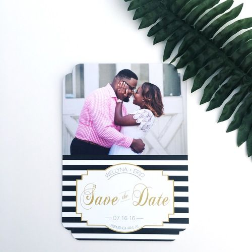 Double Rounded Die Cut Save the Dates