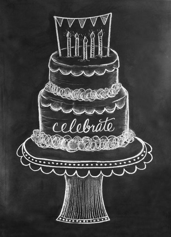 Unique Birthday Card Birthday Cake Card Chalkboard by LilyandVal