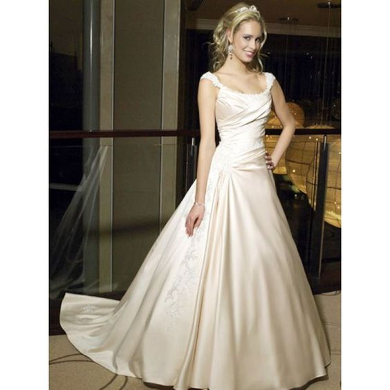 2015 A-Line Two Shoulders Applique Rushed Champagne Taffeta Chapel Train  Wedding Dress Wedding Dresses Auckland
