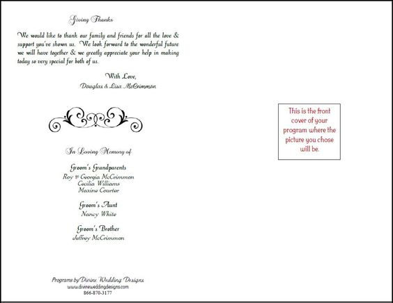 Free Printable Wedding Programs Templates  Ceremony   Printable