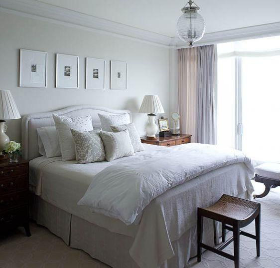 Soft Tranquil Bedroom Design With Off White Gray Headboard And Bedskirt Gray Damask Pillows