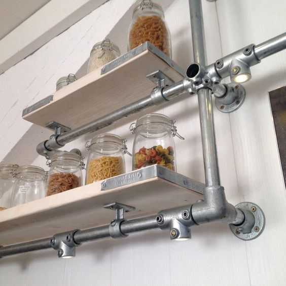 nice Wall Mounted Metal Kitchen Shelves #6: Wall Mounted, Modern Kitchen Shelves / Pan Rack Storage For Sale in Metal Pipe and