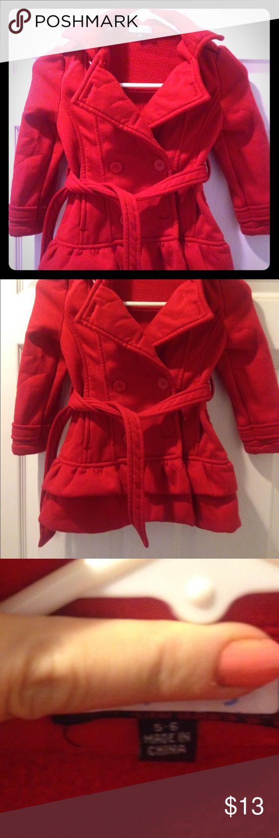 Girls red pea coat fleece 5/6 Adorable red pea coat fleece material very warm size 5/6 Jackets & Coats Pea Coats
