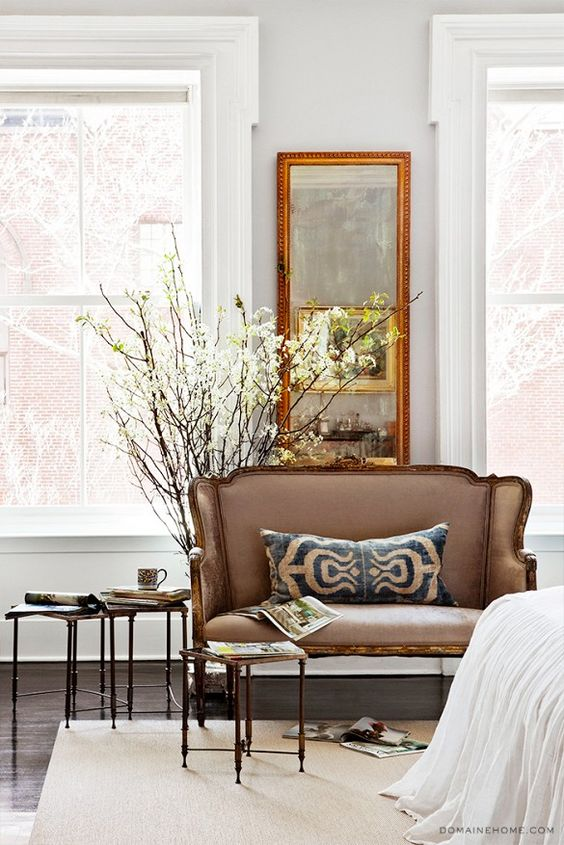 Home Tour: A Legendary New York Townhouse via @domainehome // settee: