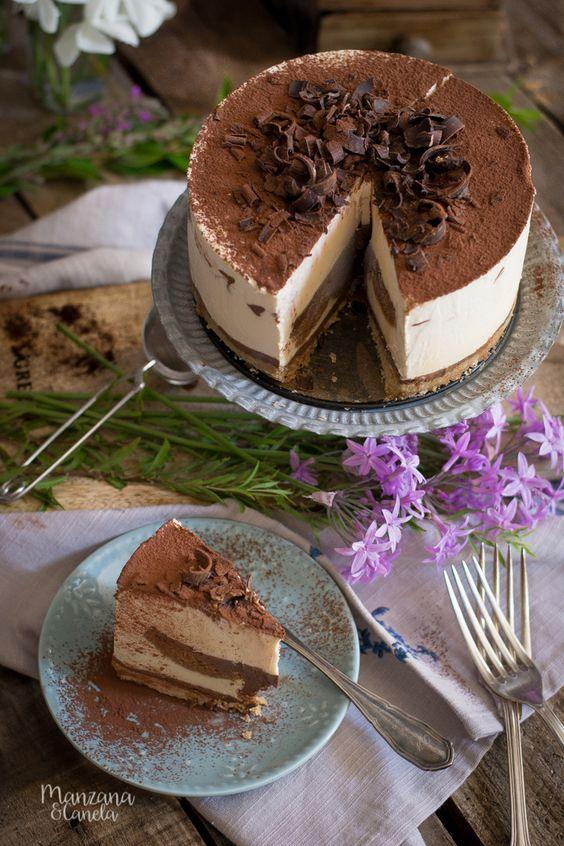 Tarta helada de Tiramisú. Receta con Mesura, sin azúcar refinado. Tiramisu icecream cake. #sugarfree #nobake