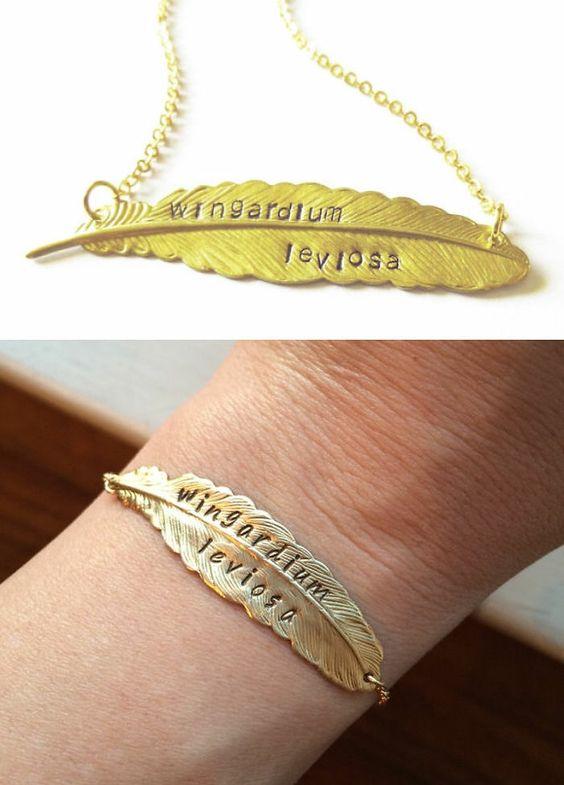 harry potter schmuck halskette armkette gold zauberspruch wingardium leviosa