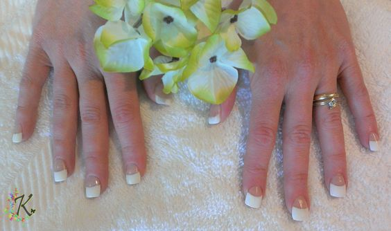 Full Set of White Tips with Arylic Overlay.
